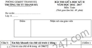 Đề thi giữa học kì 2 lớp 4 môn Toán - Tiểu học thị trấn Thanh Hà 2017