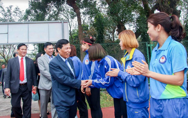 Bộ trưởng Nguyễn Ngọc Thiện thăm và chúc Tết tại TTHL Thể thao QG Hà Nội