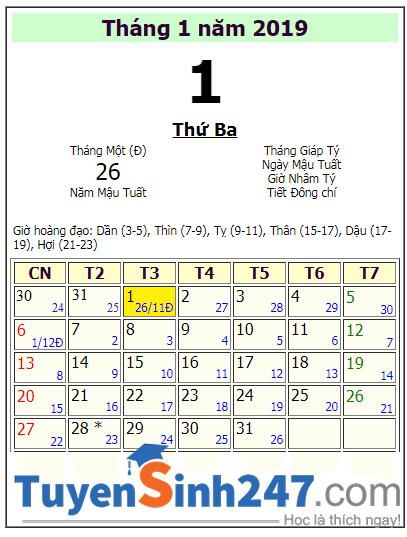 Tết dương lịch 2019 vào thứ mấy?