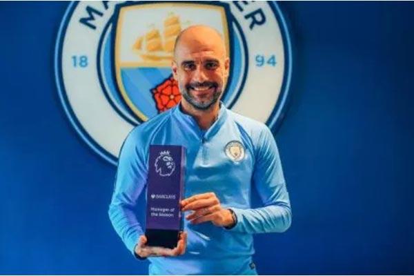 Pep Guardiola đoạt danh hiệu HLV xuất sắc nhất Premier League 2018/19.