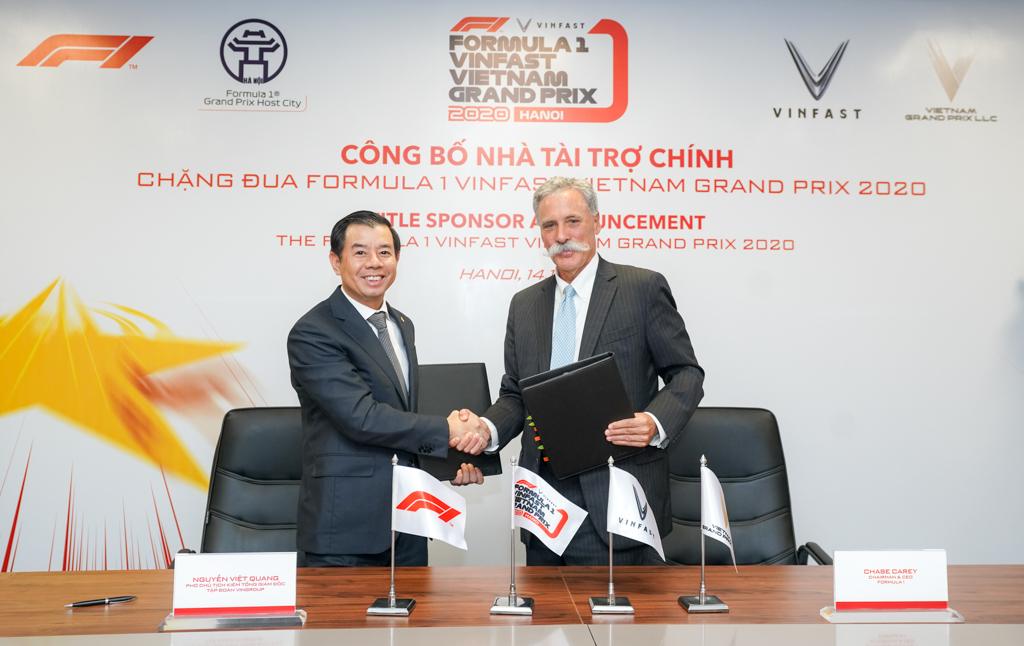 VinFast chính thức là nhà tài trợ chính của chặng đua F1 Vietnam Grand Prix 2020