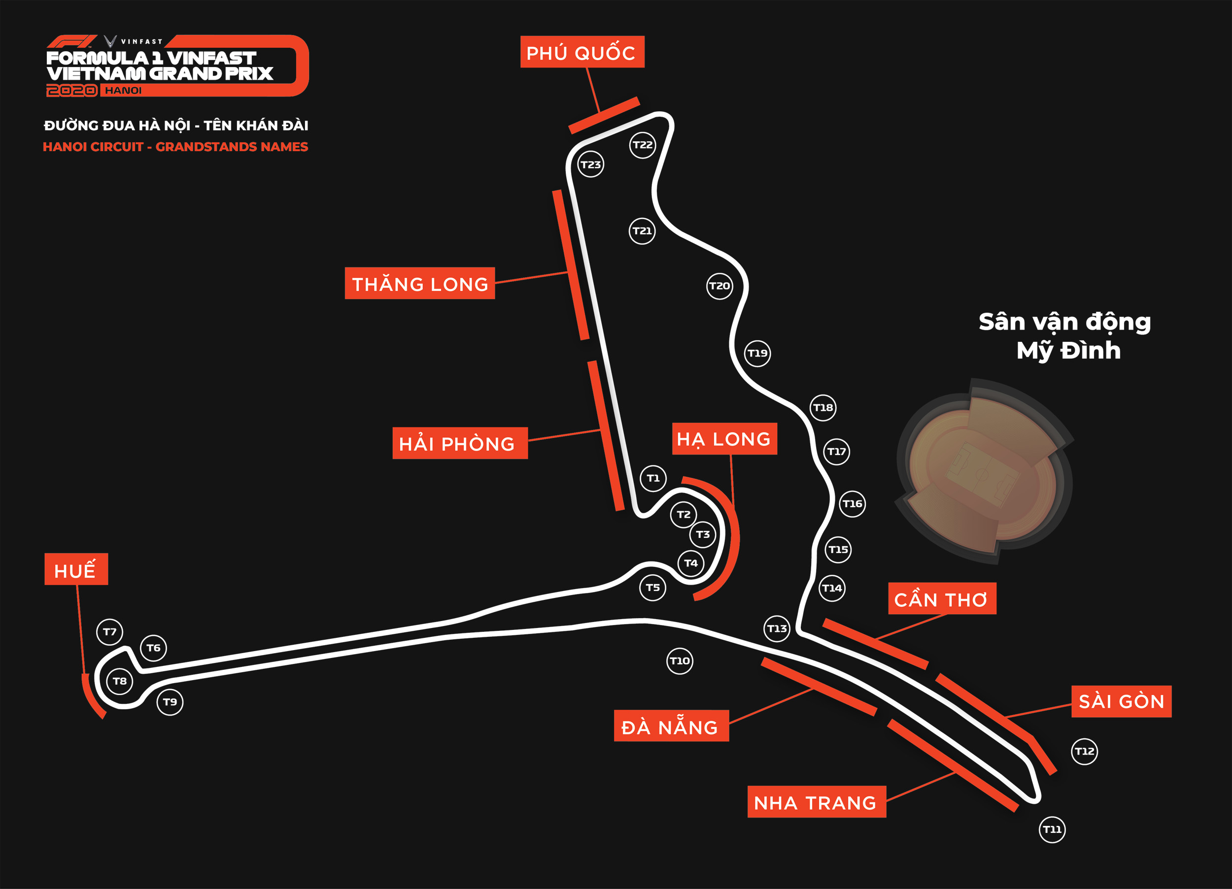 Khán đài đường đua F1 Hà Nội mang tên các địa danh nổi tiếng Việt Nam