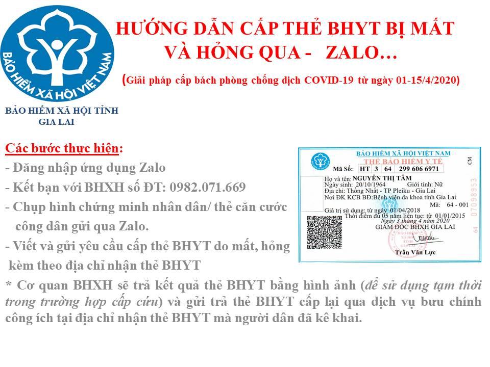 BHXH tỉnh Gia Lai tiếp nhận thủ tục đăng ký cấp lại thẻ BHYT qua mạng xã hội Zalo trong thời gian cách ly xã hội